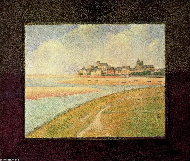 'View of Crotoy from Upstream', Oil by Georges-Pierre Seurat (1859-1891, France)