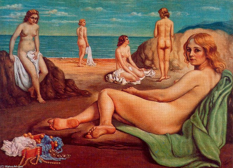 'Bathers on the beach', Oil by Giorgio De Chirico (1888-1978, Greece)