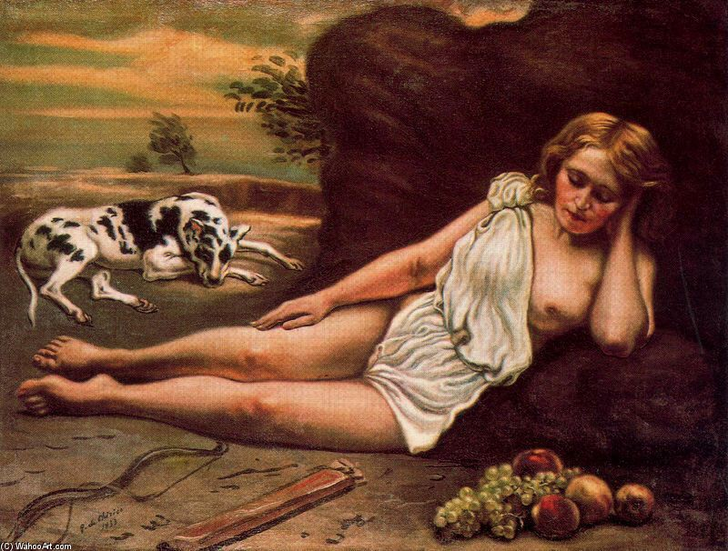 'Diana sleeping in the woods', Oil by Giorgio De Chirico (1888-1978, Greece)