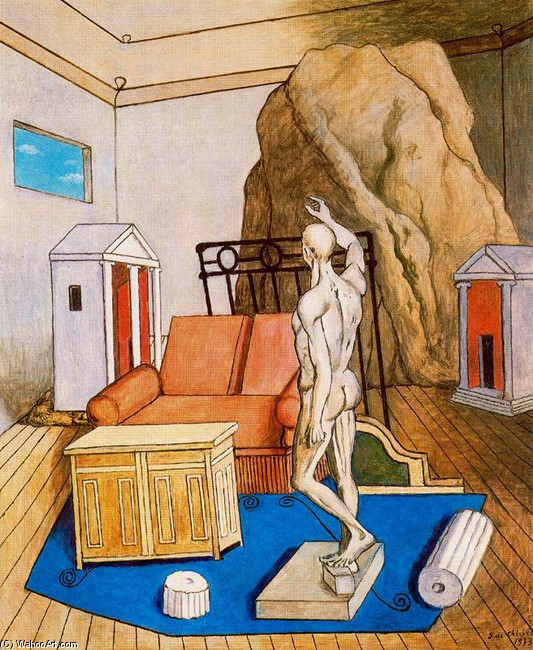 Furniture and rocks in a room by Giorgio De Chirico (1888-1978, Greece) | Art Reproduction | WahooArt.com