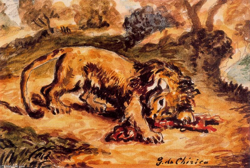 Lion devouring a piece of meat by Giorgio De Chirico (1888-1978, Greece) | WahooArt.com