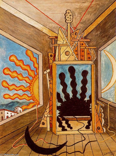 'Metaphysical Interior with dying sun', Oil by Giorgio De Chirico (1888-1978, Greece)