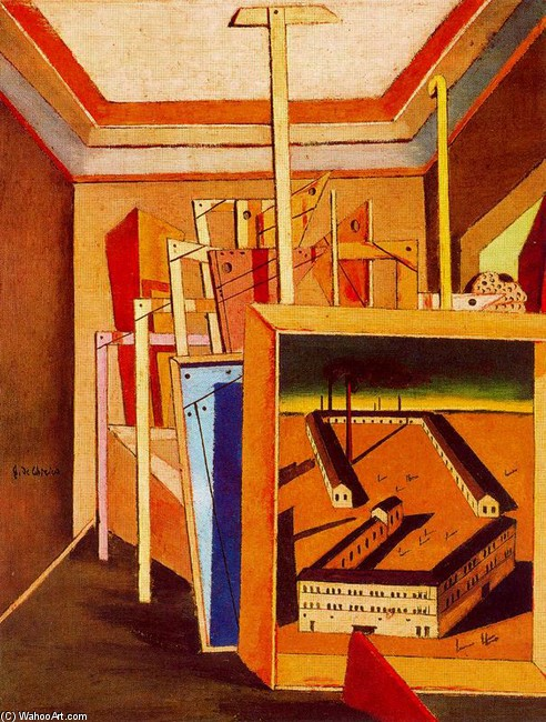 'Metaphysical Interior with workshop', Oil by Giorgio De Chirico (1888-1978, Greece)