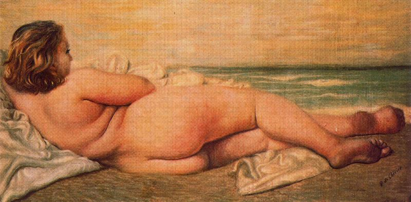'Nude Woman on the Beach', Oil by Giorgio De Chirico (1888-1978, Greece)