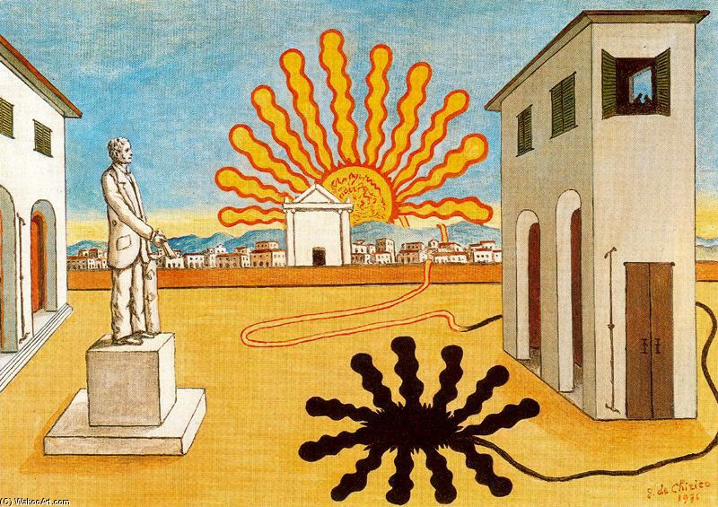 Rising sun on the plaza by Giorgio De Chirico (1888-1978, Greece) | Museum Quality Reproductions | WahooArt.com