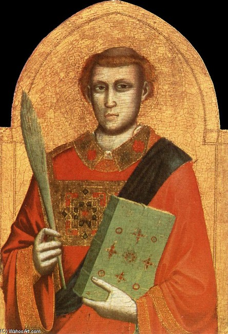 St Lawrence by Giotto - Ambrogio Bondone (1267-1337, Italy) | Famous Paintings Reproductions | WahooArt.com