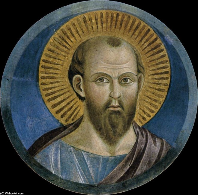 'St Peter (Upper Church, San Francesco, Assisi)', Oil by Giotto - Ambrogio Bondone (1267-1337, Italy)