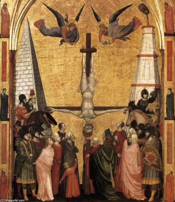 The Stefaneschi Triptych. Martyrdom of Peter by Giotto - Ambrogio Bondone (1267-1337, Italy) | Museum Quality Reproductions | WahooArt.com