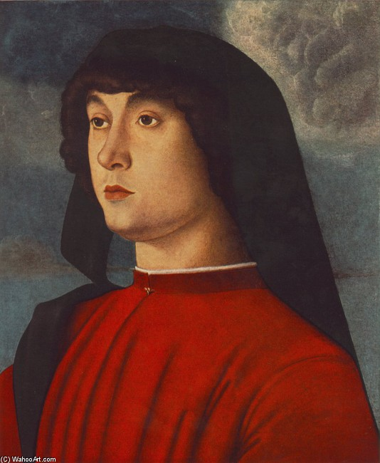 'Portrait of a Young Man in Red', Oil by Giovanni Bellini (1430-1516, Italy)