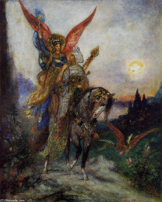 'Arabian Poet (aka Persian)', Oil by Gustave Moreau (1826-1898, France)