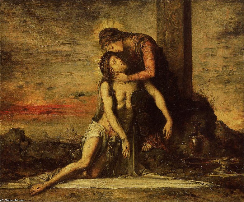 Pieta by Gustave Moreau (1826-1898, France) | Painting Copy | WahooArt.com
