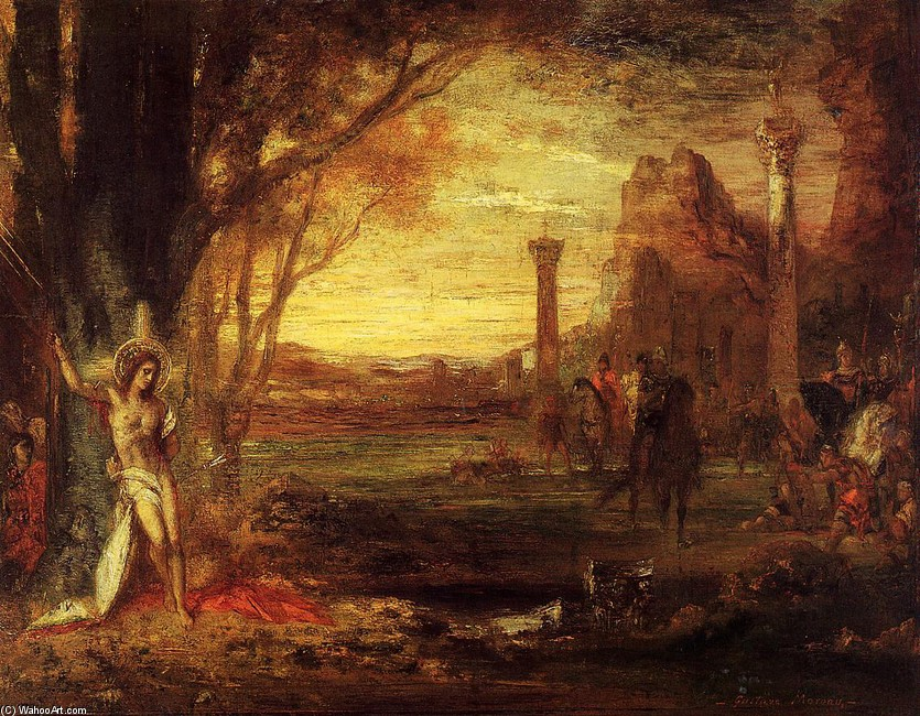 'Saint Sebastian and His Executioners', Oil by Gustave Moreau (1826-1898, France)