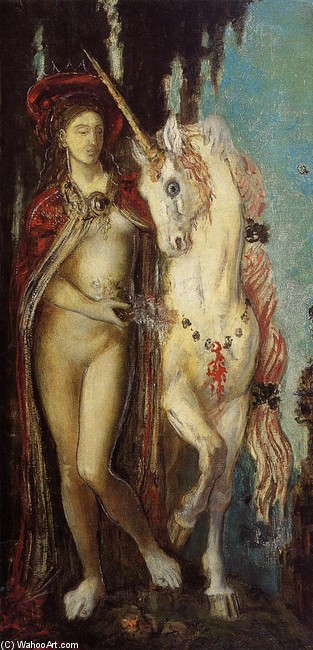 'The Unicorn', Oil by Gustave Moreau (1826-1898, France)