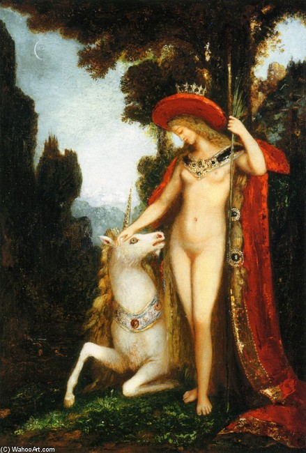 'The Unicorne', Oil by Gustave Moreau (1826-1898, France)