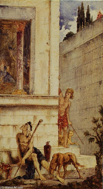 The Wicked Rich and the Poor Lazarus by Gustave Moreau (1826-1898, France) | Oil Painting | WahooArt.com