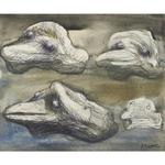 Henry Moore - Four Views Of A Pebble - Idea For Sculpture