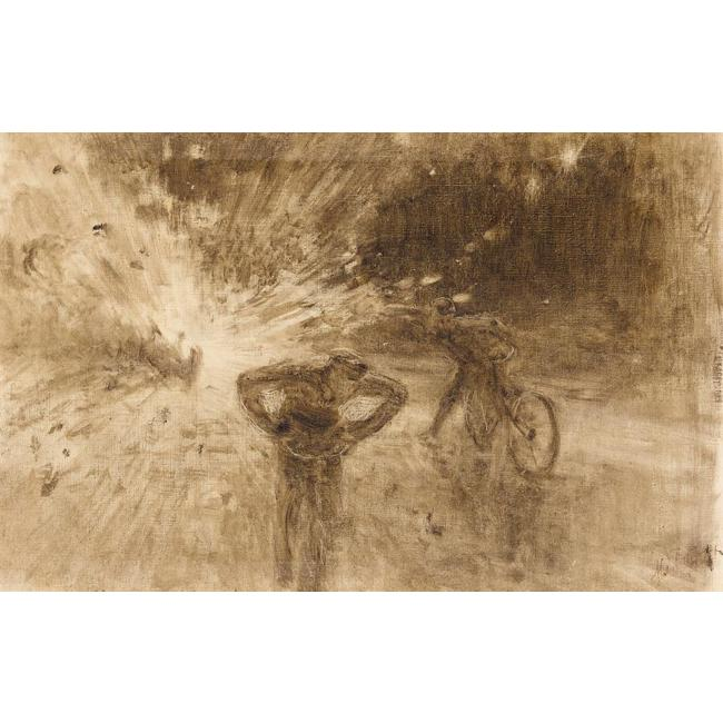 Monochrome Sketch Of The Terrorist Attack In 1916 On King Albert I Of Belgium by Ilya Repin (1844-1930, Finland) | WahooArt.com