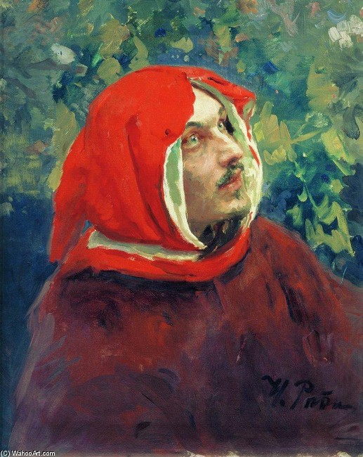 'Portrait of Dante. Study', Oil by Ilya Repin (1844-1930, Finland)