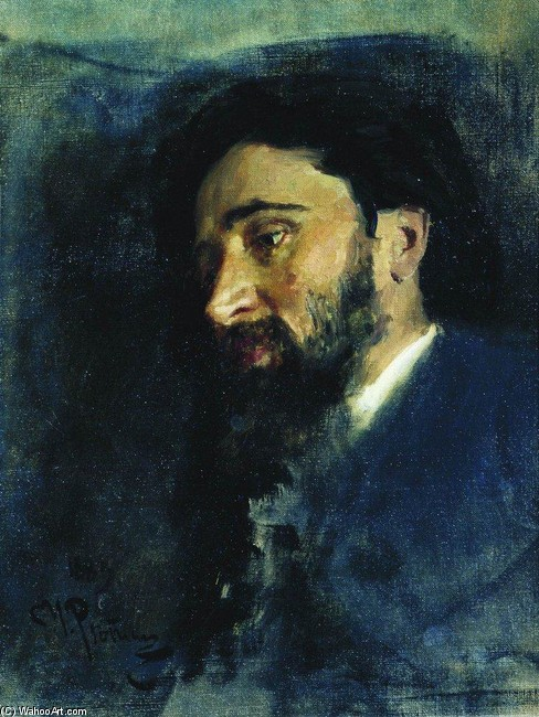 Portrait of writer Vsevolod Mikhailovich Garshin. Study by Ilya Repin (1844-1930, Finland) | Museum Quality Reproductions | WahooArt.com