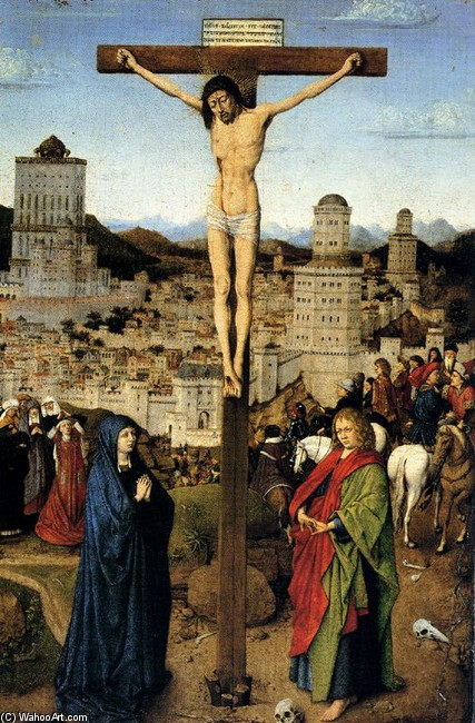 'Crucifixion 1', Oil by Jan Van Eyck (1395-1441, Netherlands)
