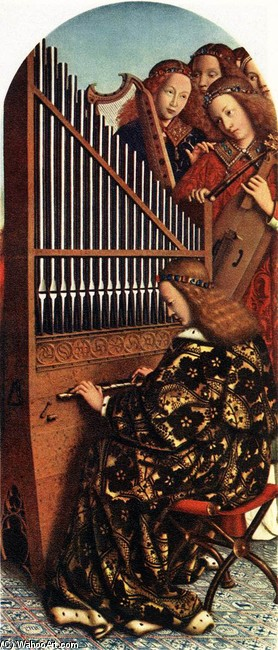 'The Ghent Altarpiece. Angels Playing Music', Oil by Jan Van Eyck (1395-1441, Netherlands)