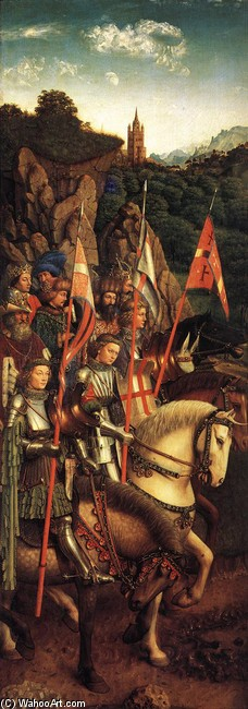 'The Ghent Altarpiece. The Soldiers of Christ', Oil by Jan Van Eyck (1395-1441, Netherlands)