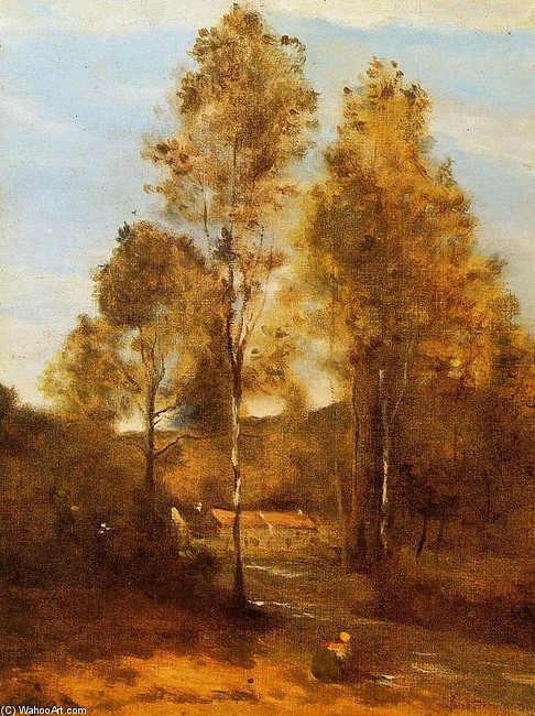 Clearing in the Bois Pierre, near at Eveaux near Chateau Thiery by Jean-Baptiste Corot (1796-1875, France) | Famous Paintings Reproductions | WahooArt.com