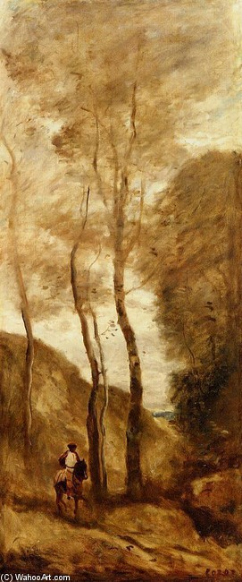 'Horse and Rider in a Gorge', Oil by Jean-Baptiste Corot (1796-1875, France)