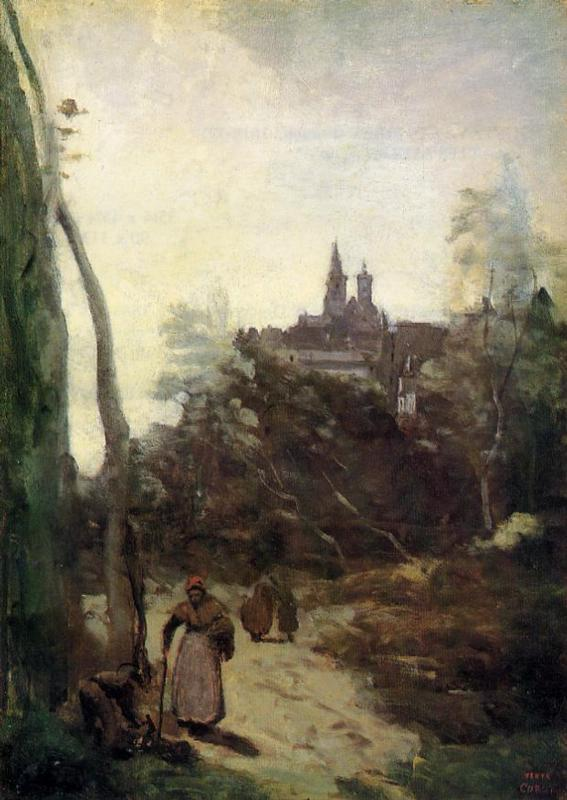 Semur - the Path from the Church by Jean-Baptiste Corot (1796-1875, France) | Oil Painting | WahooArt.com