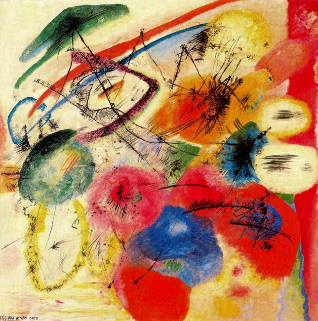 'Black lines I', Oil by Kandinsky (1866-1944, Russia)