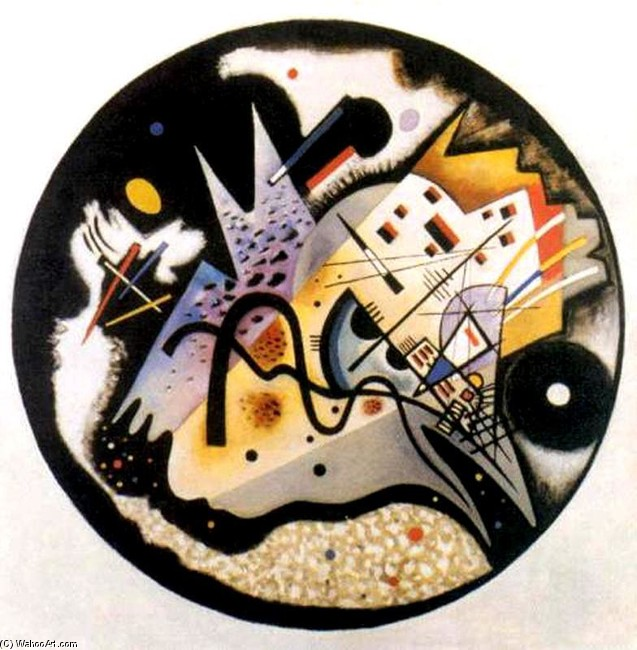 'In the Black Circle', Oil by Kandinsky (1866-1944, Russia)