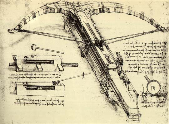 'Giant Crossbow', Oil by Leonardo Da Vinci (1452-1519, Italy)