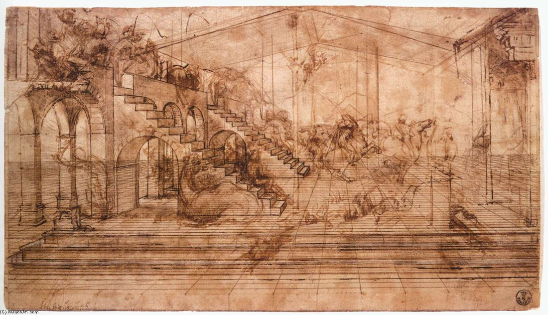 'Perspectival study of the Adoration of the Magi', Ink by Leonardo Da Vinci (1452-1519, Italy)