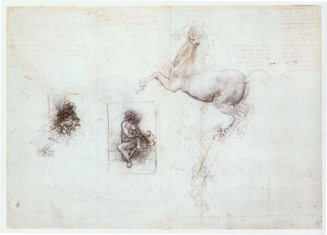 'Studies of Leda and a horse', Chalk by Leonardo Da Vinci (1452-1519, Italy)