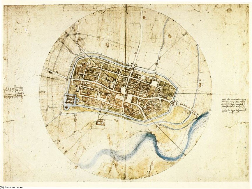 'Town plan of Imola', Oil by Leonardo Da Vinci (1452-1519, Italy)