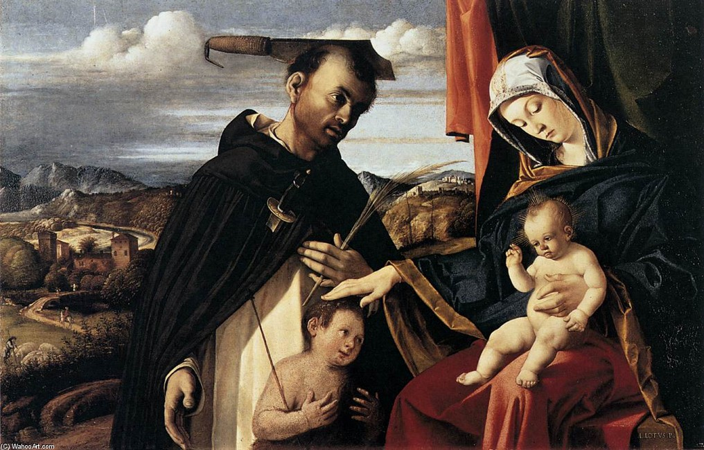 Madonna and Child with St Peter Martyr by Lorenzo Lotto (1480-1557, Italy) | WahooArt.com