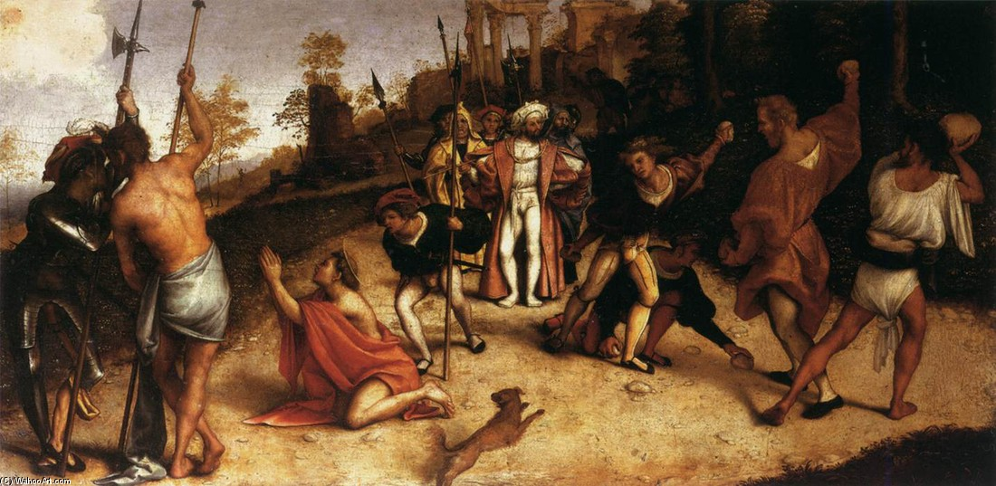 The Martyrdom of St Stephen by Lorenzo Lotto (1480-1557, Italy) | Art Reproduction | WahooArt.com