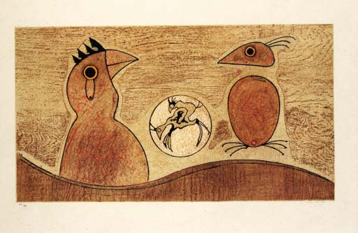 'Two birds', Oil by Max Ernst (1891-1976, Germany)