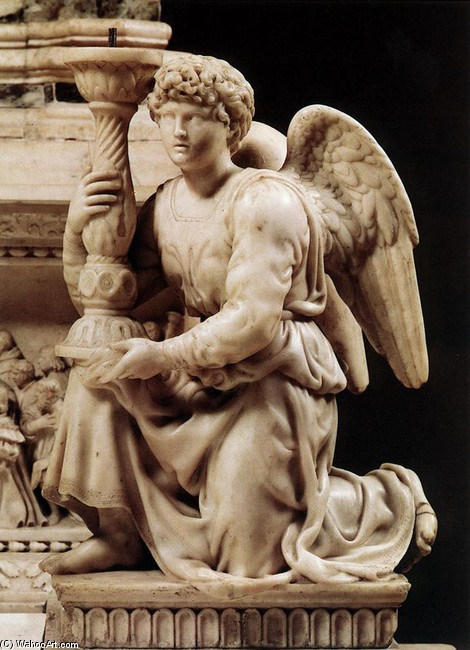 'Angel with Candlestick', Sculpture by Michelangelo Buonarroti (1475-1564, Italy)