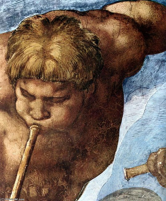 'Last Judgment (detail 11)', Oil by Michelangelo Buonarroti (1475-1564, Italy)
