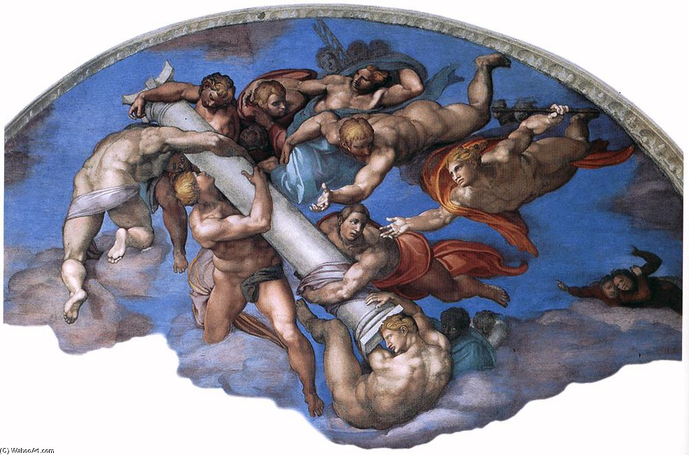 'Last Judgment (detail 9)', Oil by Michelangelo Buonarroti (1475-1564, Italy)