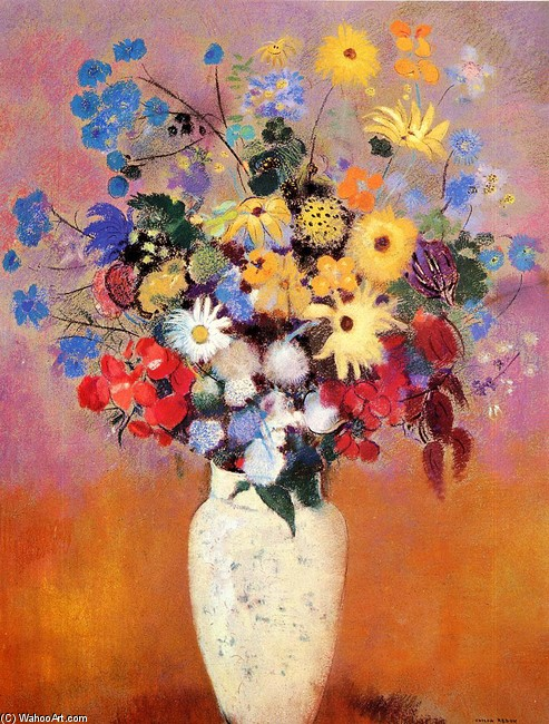'White Vase With Flowers', Oil by Odilon Redon (1840-1916, France)