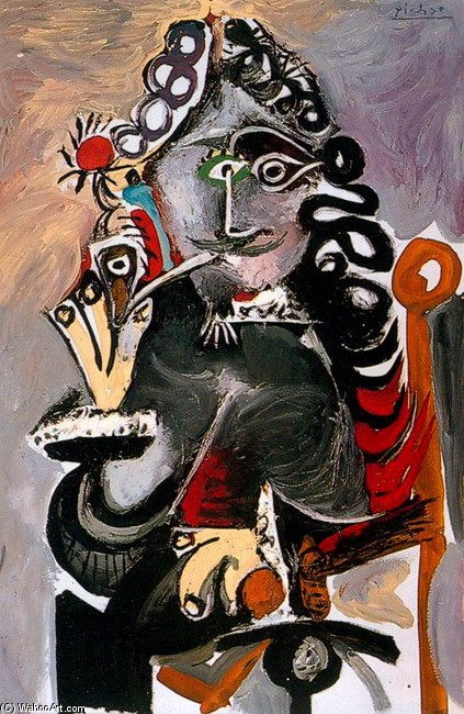 'Musketeer with pipe', Oil by Pablo Picasso (1881-1973, France)