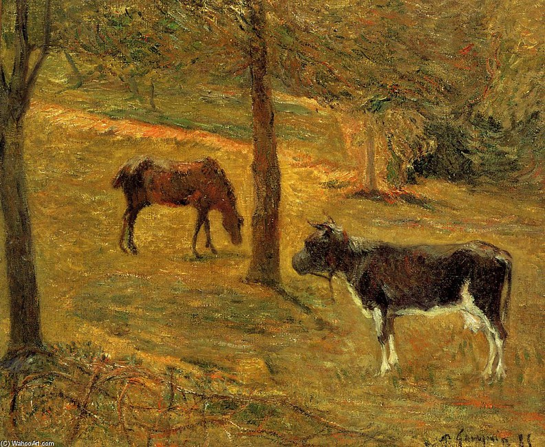 'Horse and Cow in a Field', Oil by Paul Gauguin (1848-1903, France)