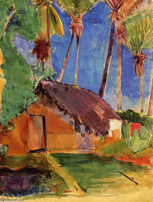 Thatched Hut under Palm Trees by Paul Gauguin (1848-1903, France) | Museum Art Reproductions Paul Gauguin | WahooArt.com