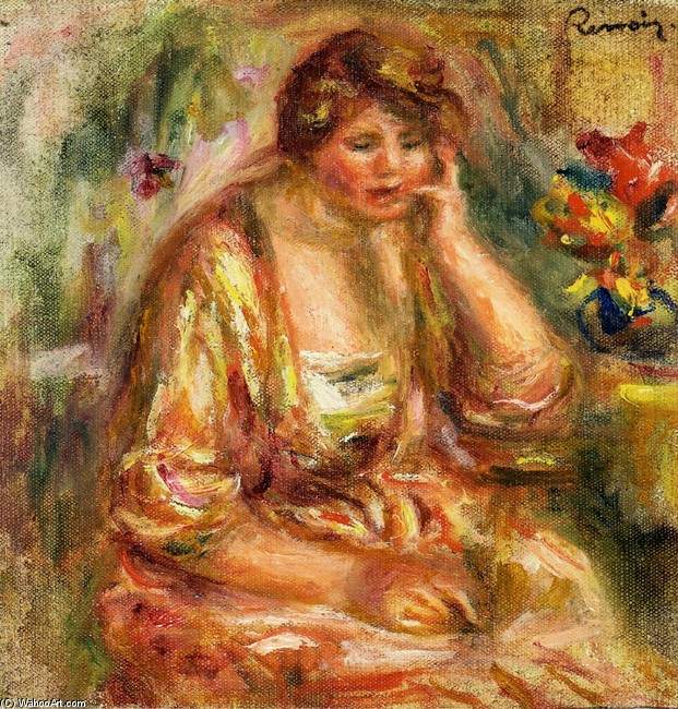'Andree in a Pink Dress', Oil by Pierre-Auguste Renoir (1841-1919, France)