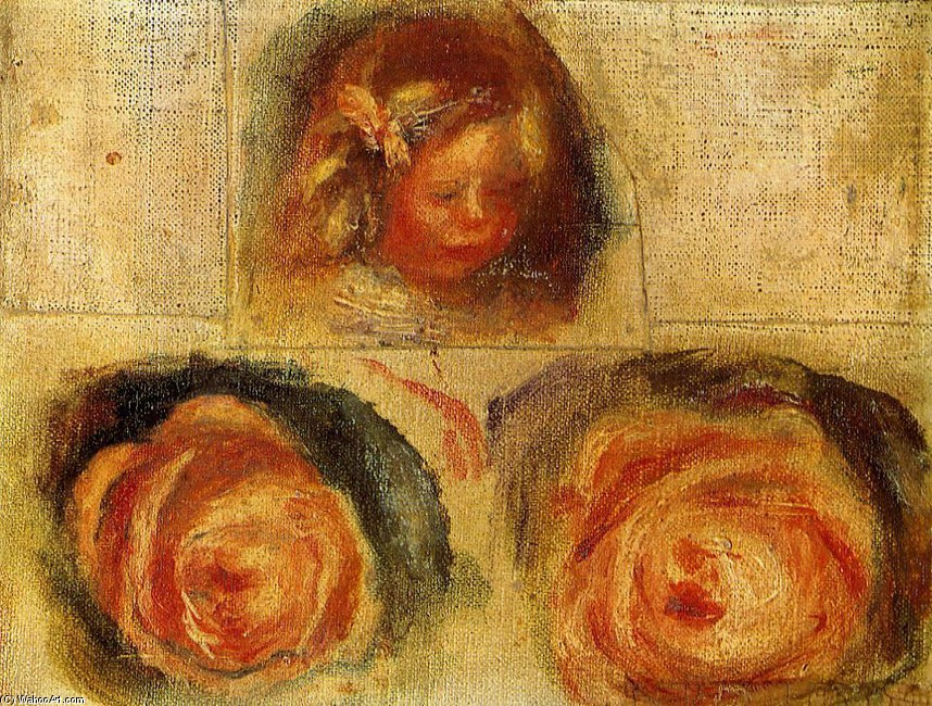 Coco and Roses (study) by Pierre-Auguste Renoir (1841-1919, France) | Famous Paintings Reproductions | WahooArt.com