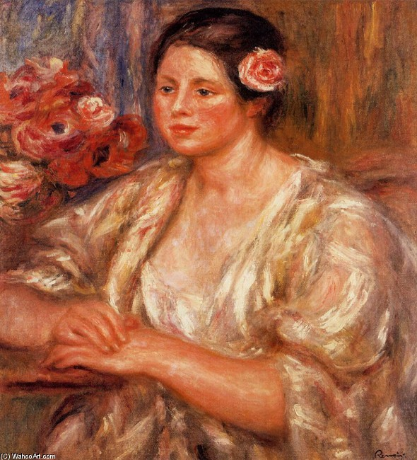 'Madelaine in a White Blouse and a Bouquet of Flowers', Oil by Pierre-Auguste Renoir (1841-1919, France)