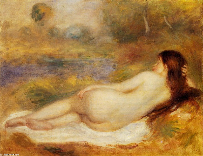 'Nude Reclining on the Grass', Oil by Pierre-Auguste Renoir (1841-1919, France)