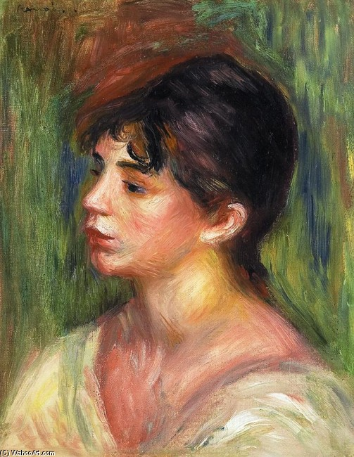 'Portrait of a Young Woman 1', Oil by Pierre-Auguste Renoir (1841-1919, France)